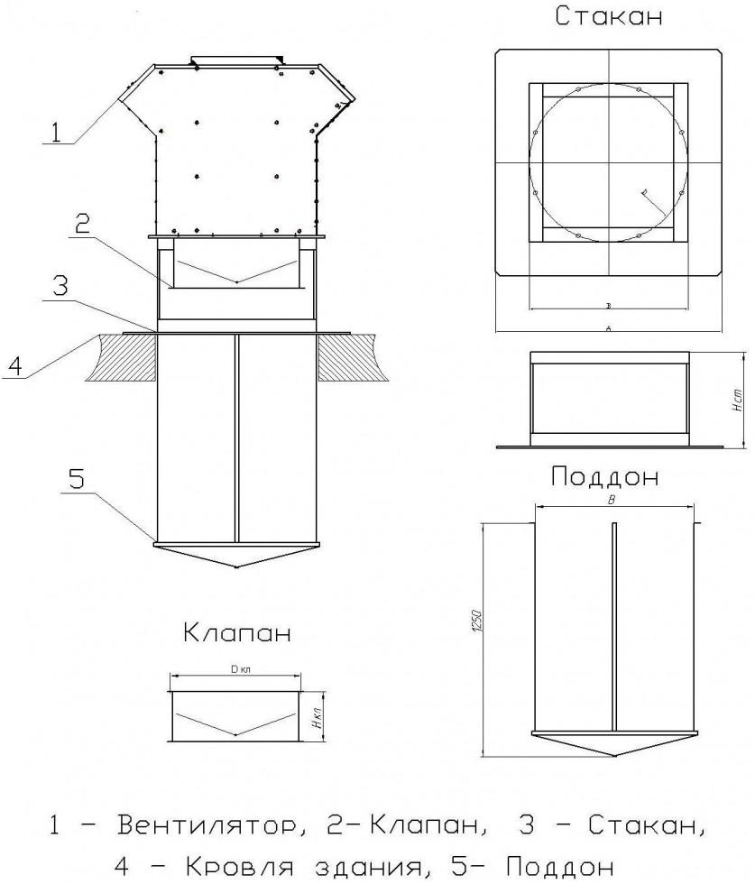 Унвент.ру - Монтаж вентиляторов крышных ВКРВ с клапаном, стаканом и поддоном на крыше.