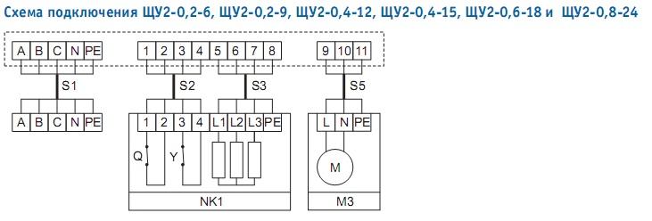 Унвен.ру - Схема подключения щитов управления для систем вентиляции с электронагревателем ЩУ2.