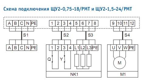 Совент.ру - Схема подключения щитов управления систем вентиляции с электронагревателем ЩУ2 PMT.