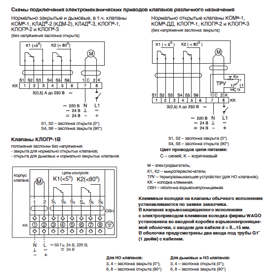 Схемы подключения клапана