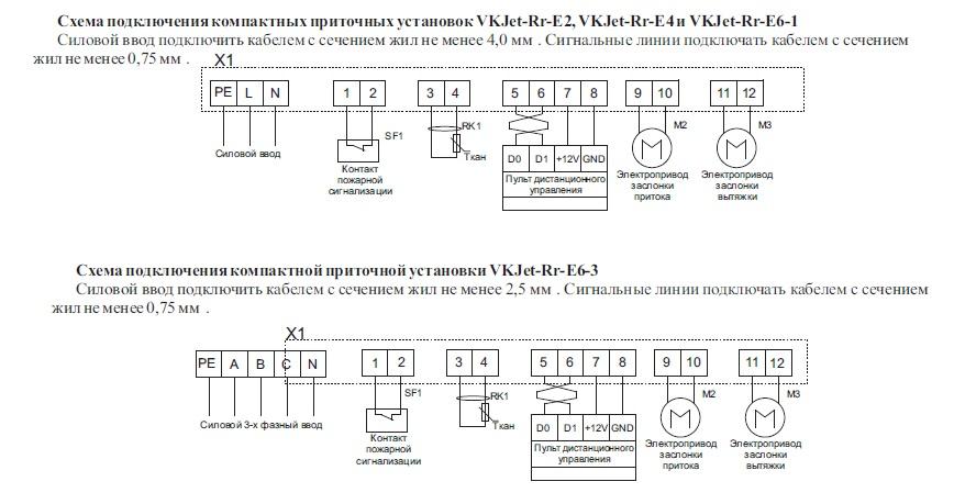 Унвен.ру - Схемы подключения приточных установок VKJet с рекуператором.