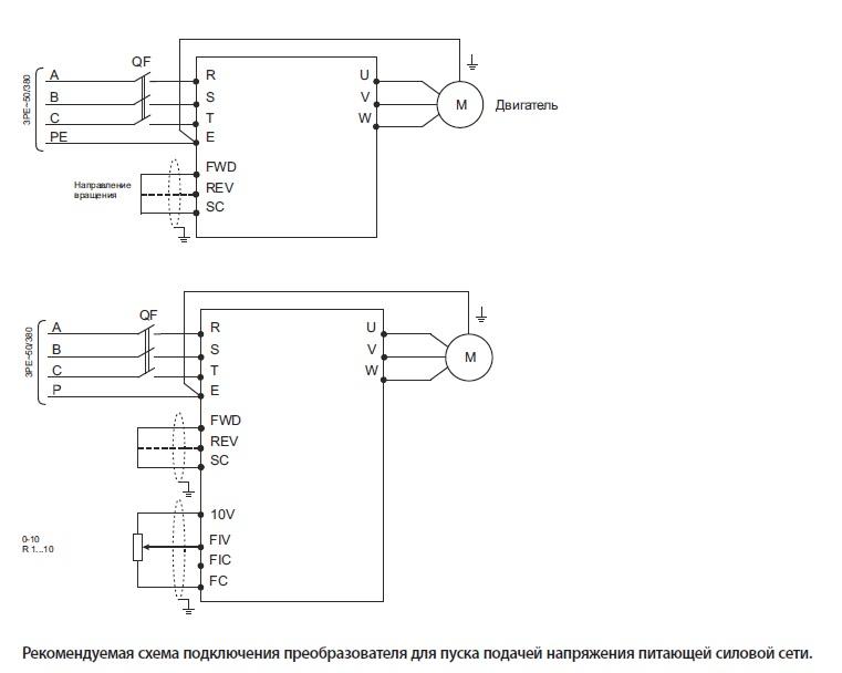 Унвент.ру - Схема подключения преобразователя частоты IVD.