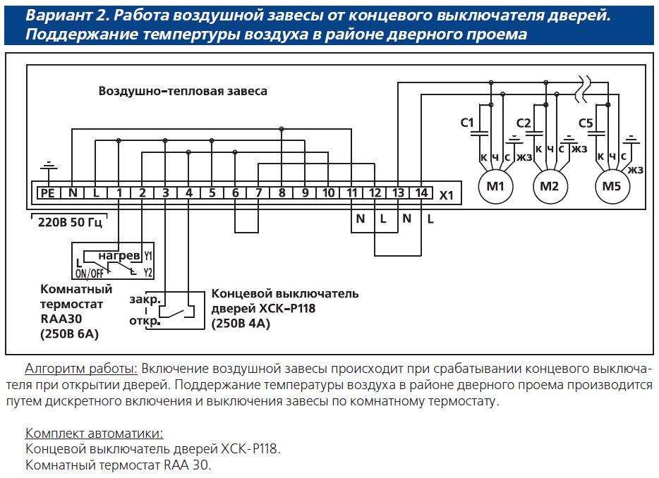 Совент.ру - Электрическая схема воздушных завес AeroWall с элементами САУ (комплектация 2) .